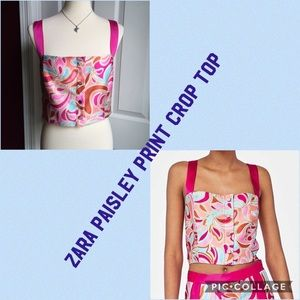 Zara Boho Pink Paisley Button Front Crop T…